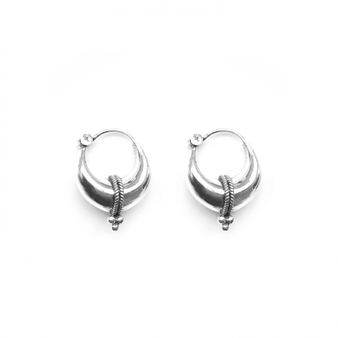 Tribal Triple Dot Earring 19mm Silver