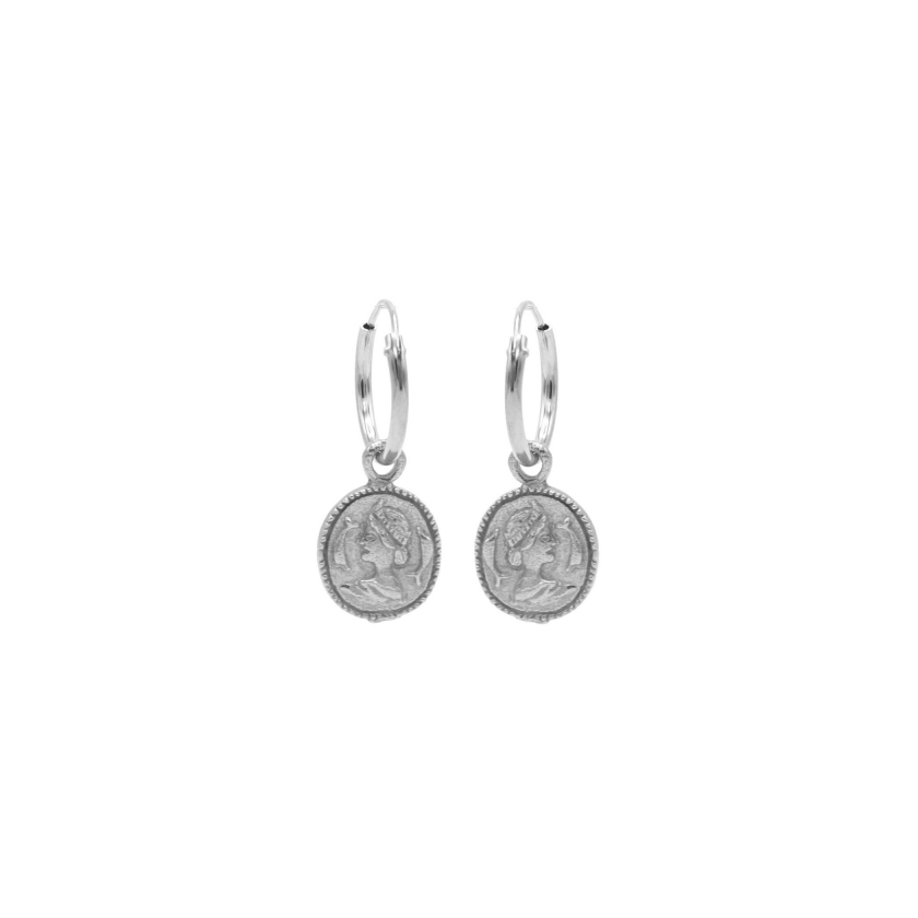 Vintage Coin Hoops Silver