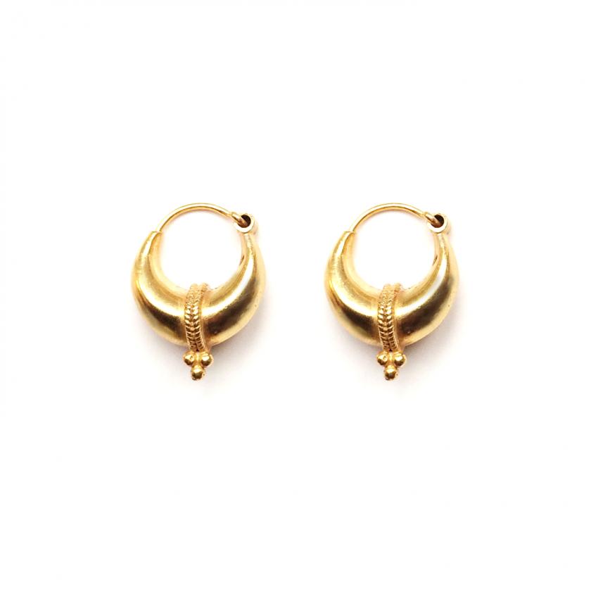 Tribal Three Dot Earring 12mm Goldplated