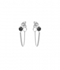 Black Chain Earpins Silver