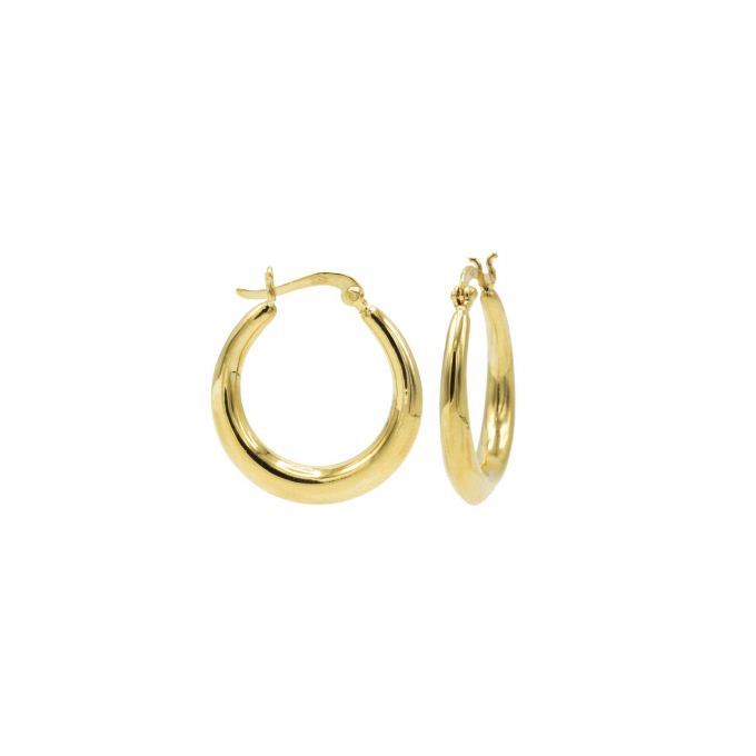 Plain Thick Hoops 18 mm Goldplated