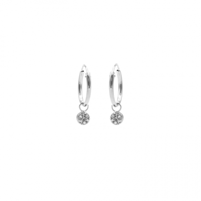 Mini Zirconia Stones Hoops Silver