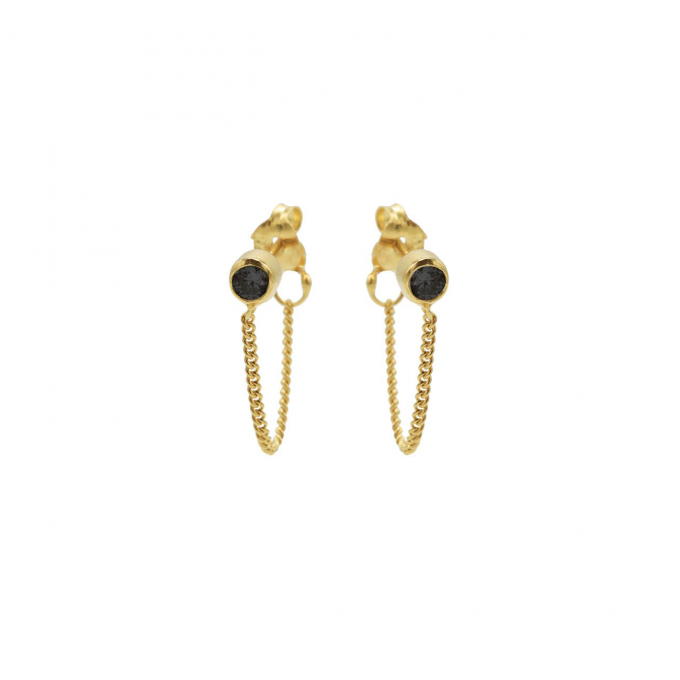 Black Chain Earpins Goldplated