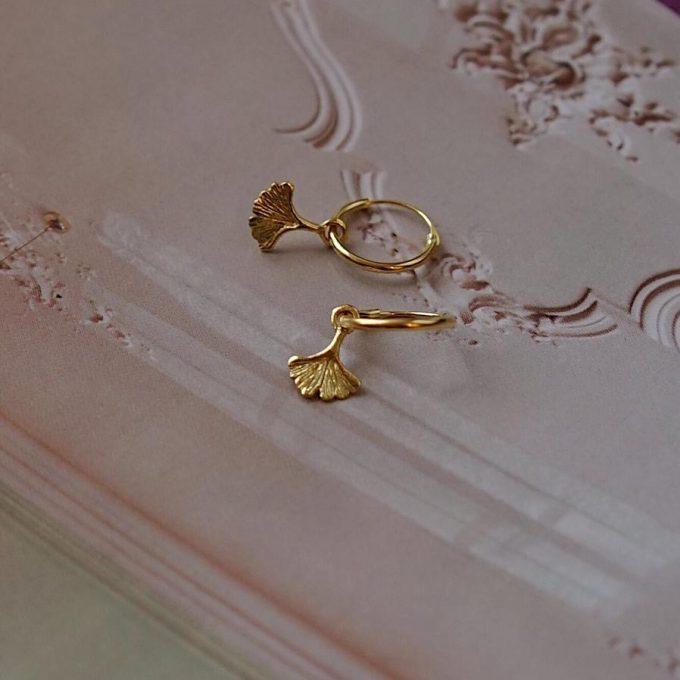 Ginko Leaf Hoops Goldplated