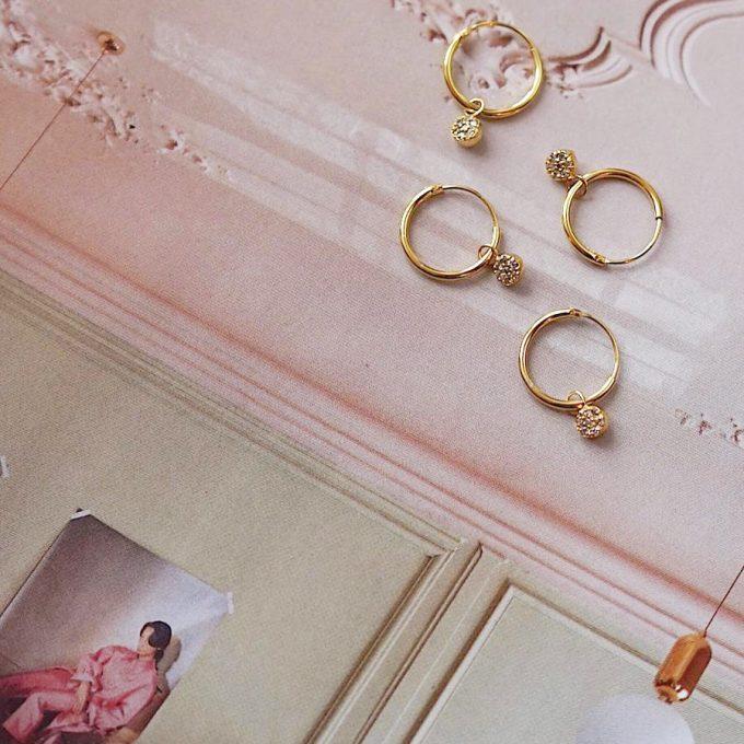 Mini Zirconia Stones Hoops Goldplated