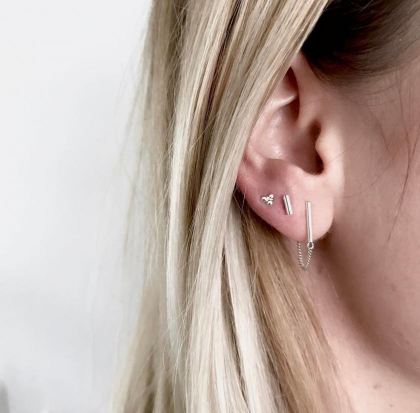 Bar chain earrings silver
