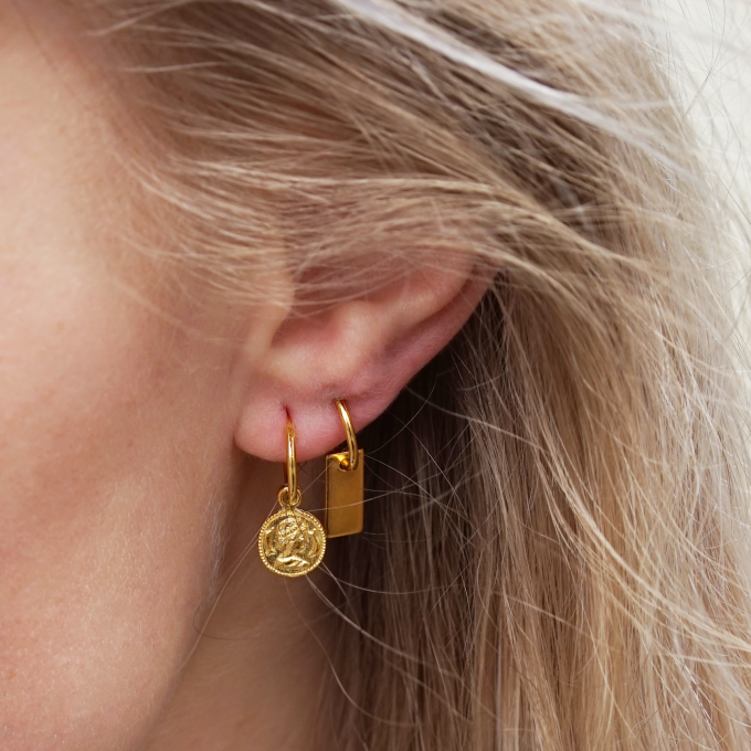 Vintage Coin Hoops Goldplated