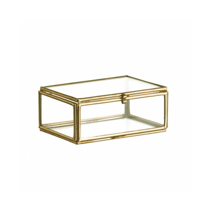 Glazen mini kistje goud ringen kistje
