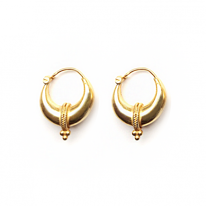 Tribal Triple Dot Earring 19mm Goldplated