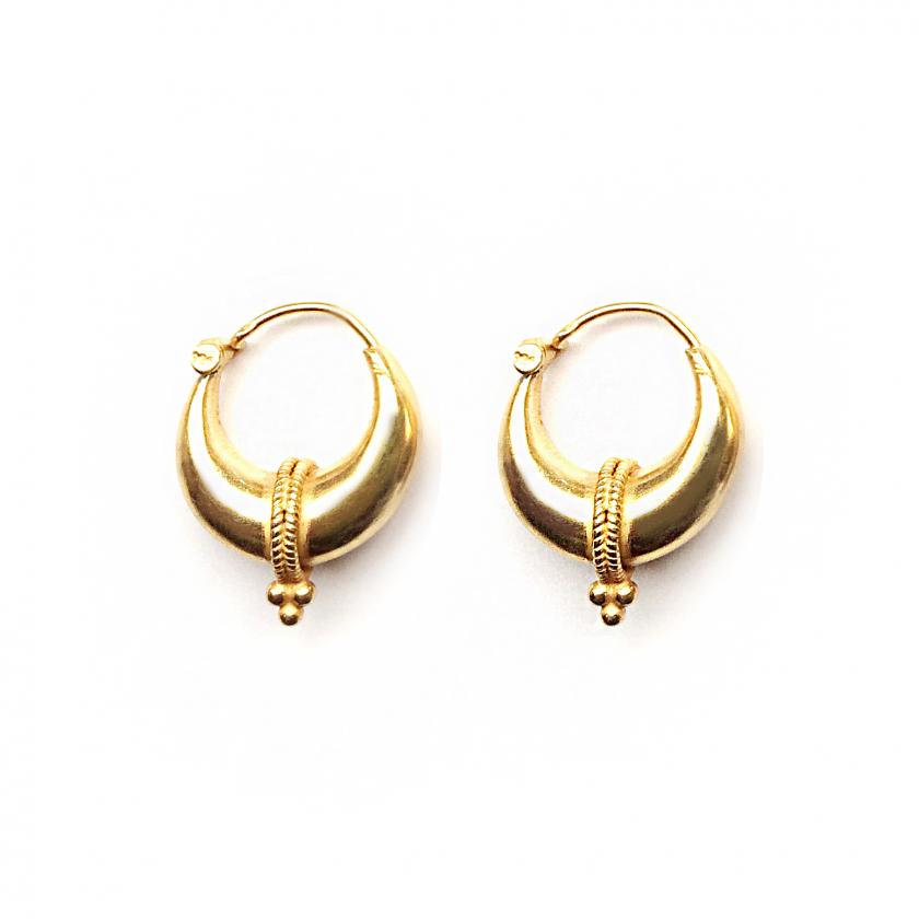 Tribal Triple Dot Earring 19mm Goldplated