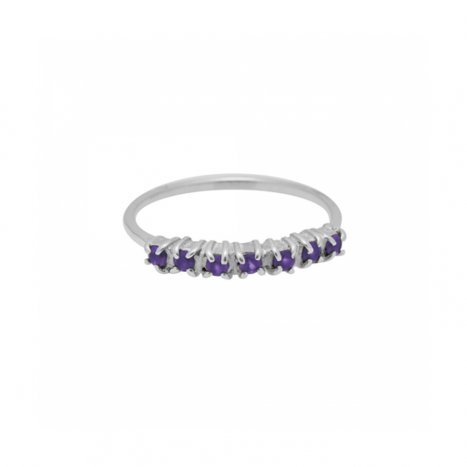 Vintage Multi Purple Zircon Ring Silver