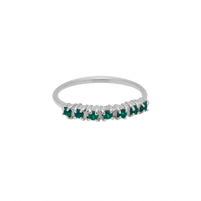 Vintage Multi Green Zircon Ring Silver