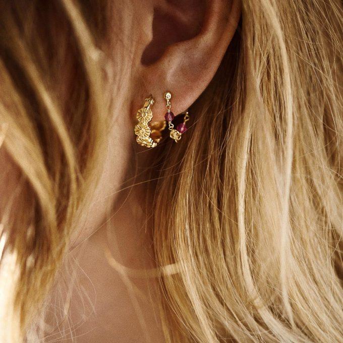 Single Confetti Chain Earring Goldplated
