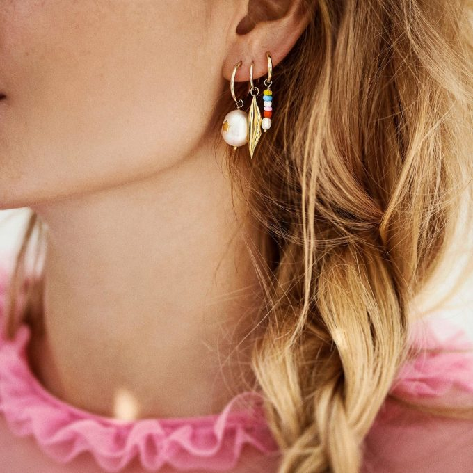 Starry Pearl Earring Charm Goldplated