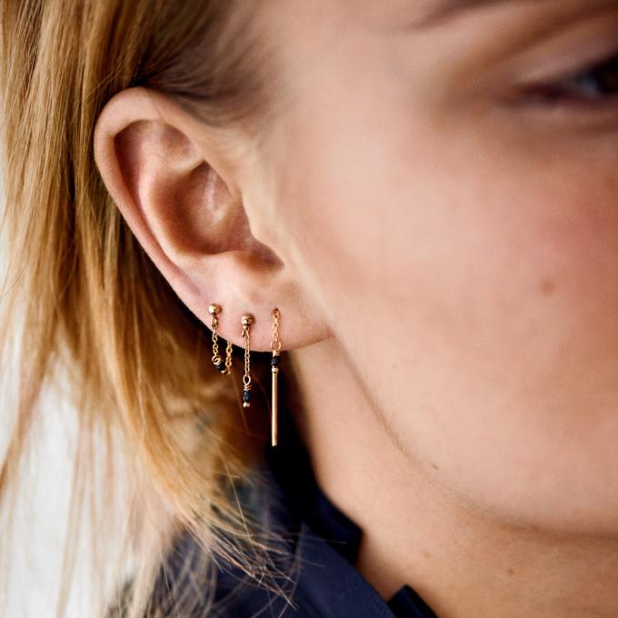 Single Meteorite Chain Earring 14K