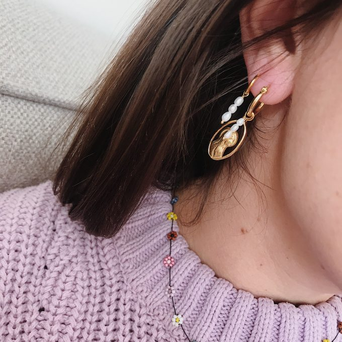 Long Freshwater Pearl Earring Goldplated