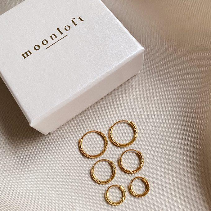 Diamond Cut hoops moonloft 8mm goldplated 12mm 10mm