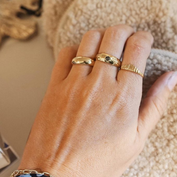 Stripe Square Ring Brass