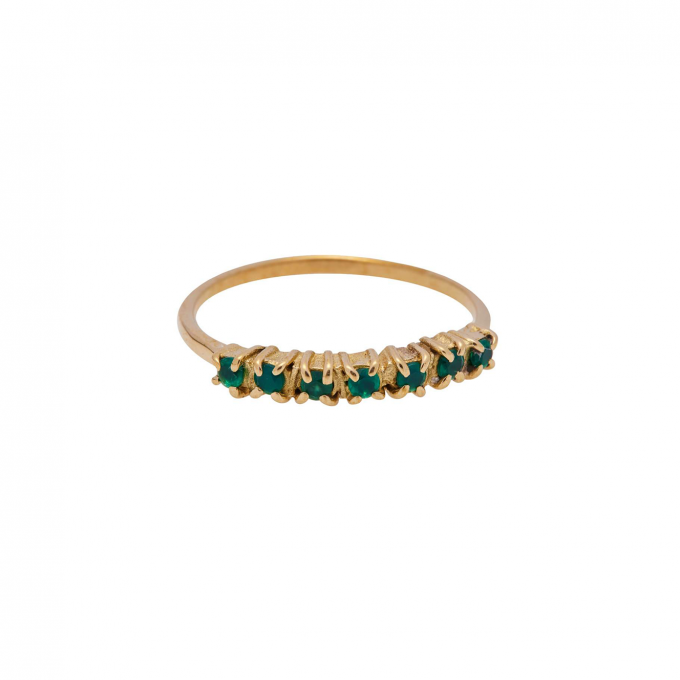 Vintage Multi Green Zircon Brass Ring