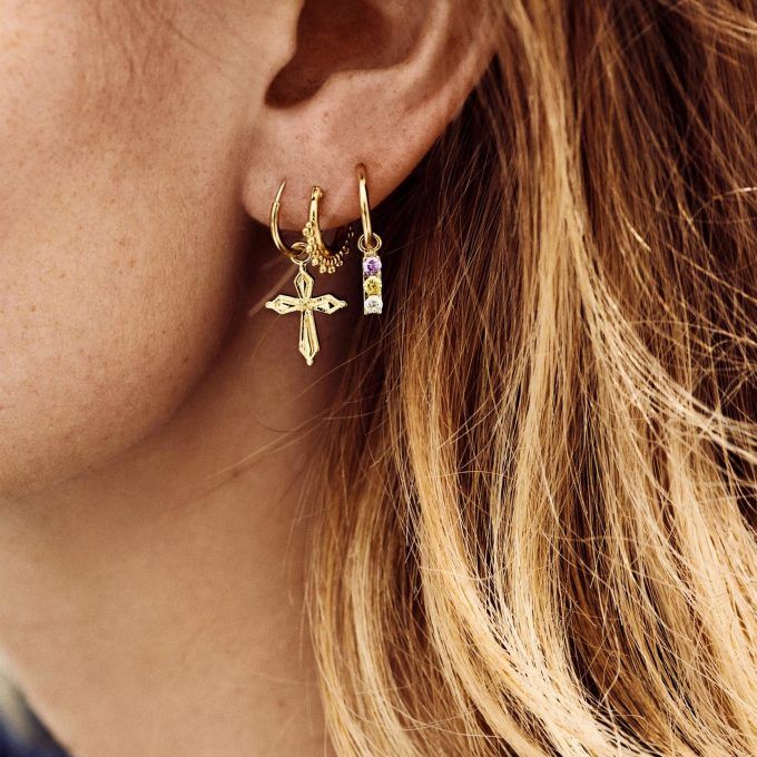 Single Madonna Cross Ring Earring Goldplated