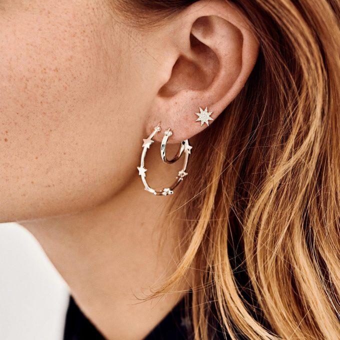 Dazzling Ring Earrings Silver