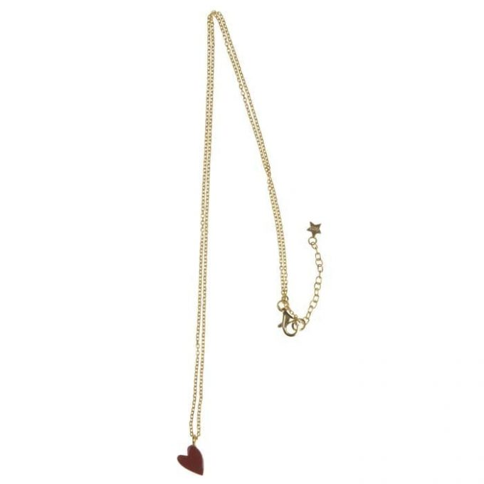 Big Assymetric Red Heart Chain Necklace Goldplated