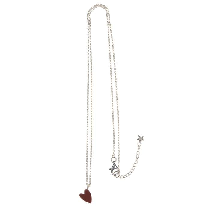 Big Assymetric Red Heart Chain Necklace Silver