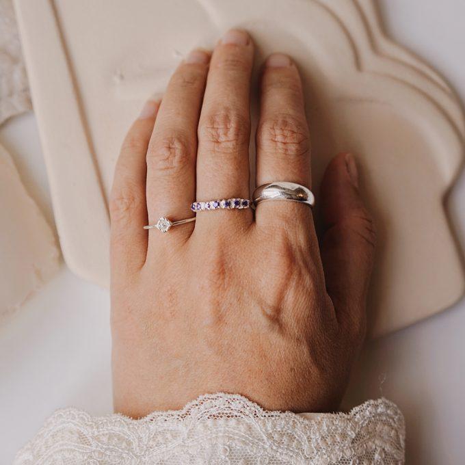 Vintage Multi Garnet Ring Silver
