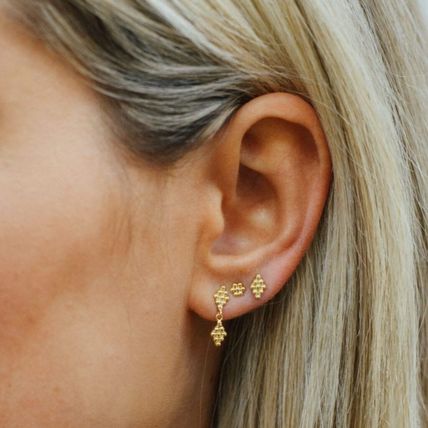 Dotted Round Flower Studs Silver
