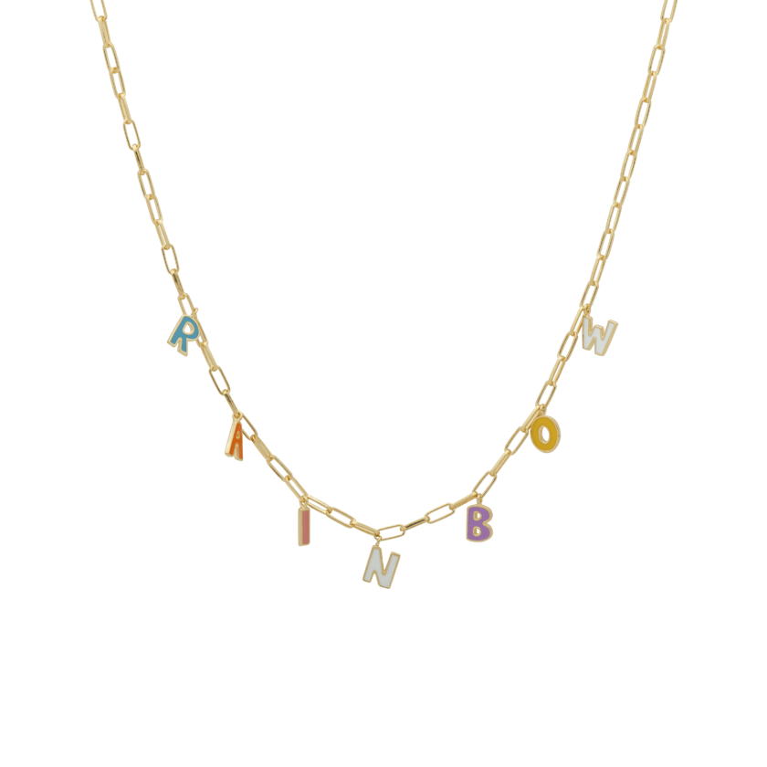 Rainbow Letter Necklace Goldplated