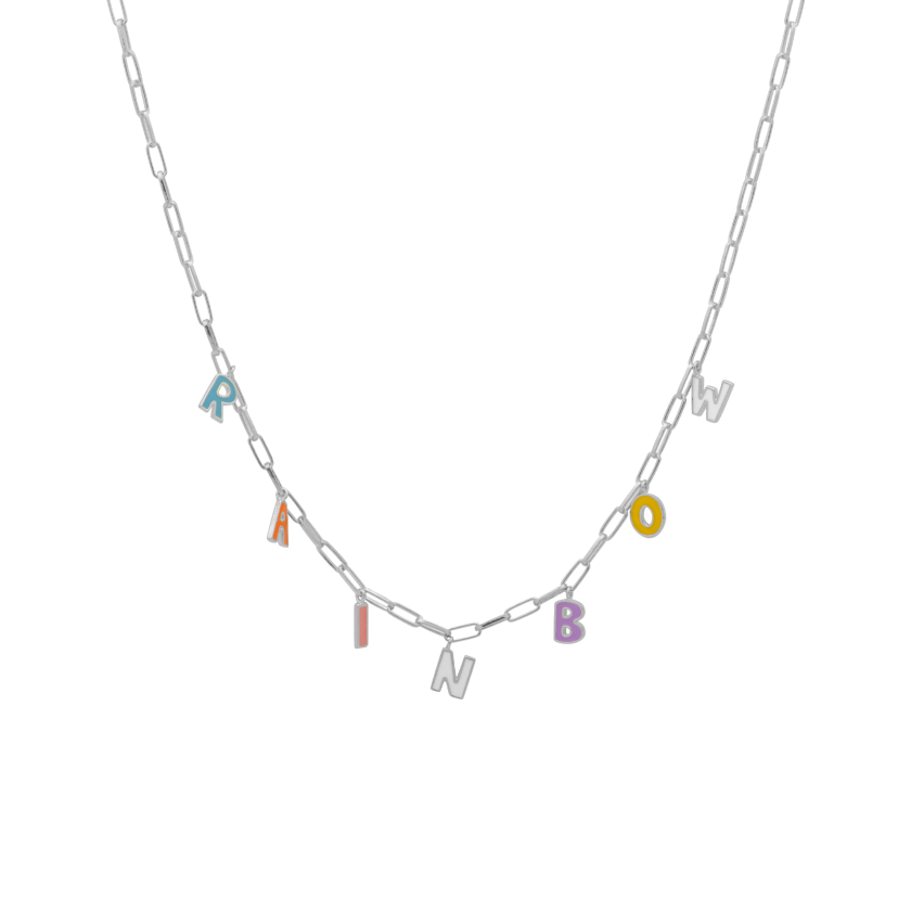 Rainbow Letter Necklace Silver