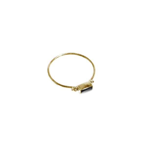 Onyx Rectangle Ring Brass