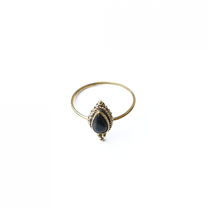 Onyx Pearshape Ring Brass
