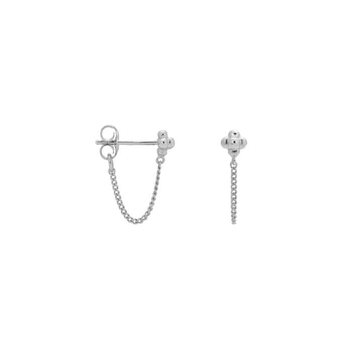 Single Blossom Chain Stud Silver