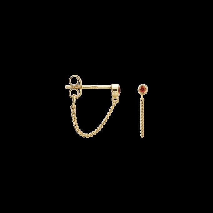 Single Zirconia Stud Chain Earring Orange Silver