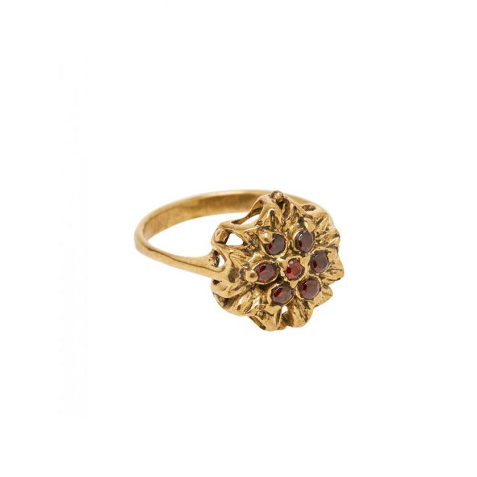 Vintage Flower Ring Brass