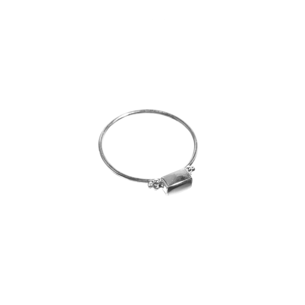 Onyx Rectangle Ring Silver