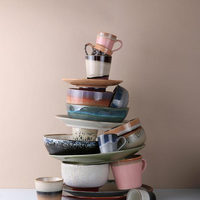 Ceramic 70's Cappuccino Mug - Pink
