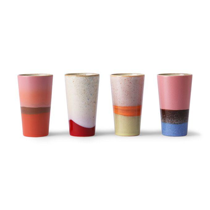 Ceramic 70's Latte Mugs Set of 4