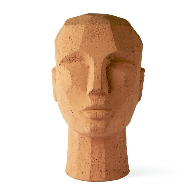 Abstract Head Sculpture Terracotta