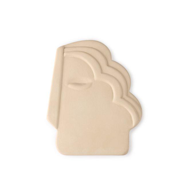 Face Wall Ornament M Matt Crème