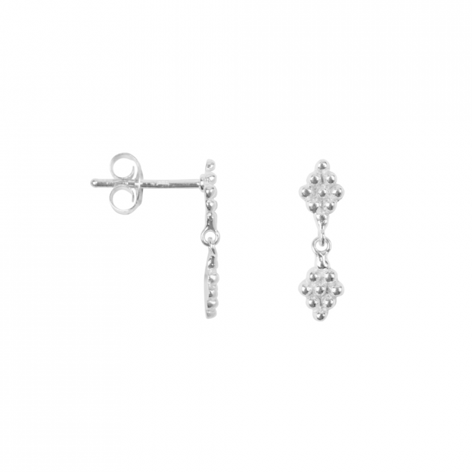 Double Dotted Wieber Studs Silver