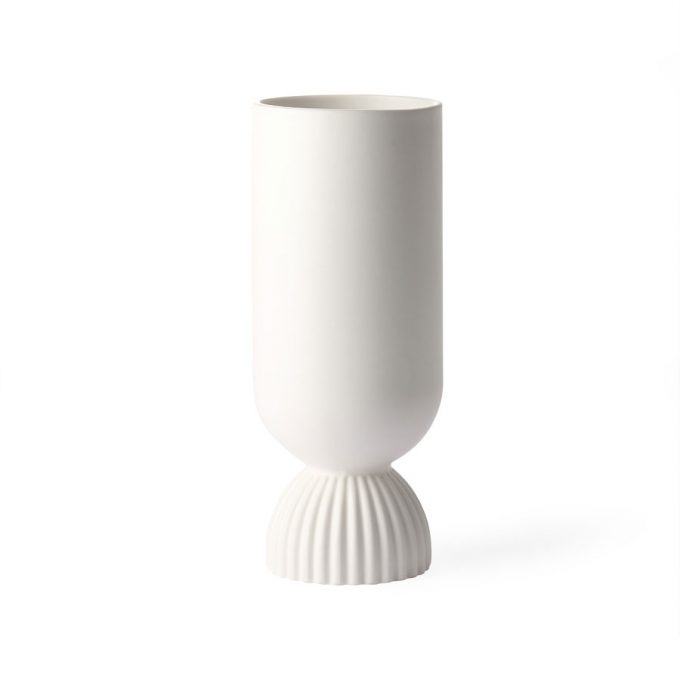 Ceramic Flower Vase Ribbed Base White