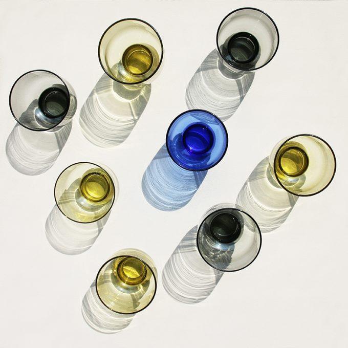 Cobalt Glass L Engraved