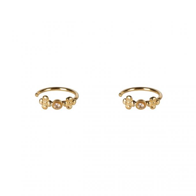 Mini Flowers White Zirconia Earrings Goldplated
