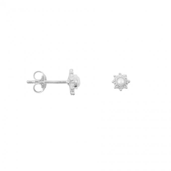 Antique Dotted Pearl Studs Silver
