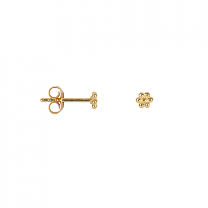 Dotted Round Flower Studs Goldplated