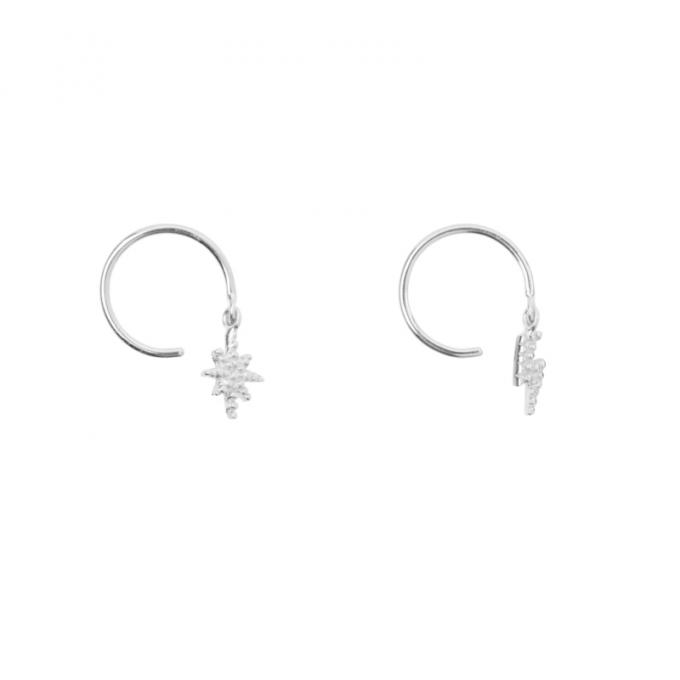 Flash & Star Earring Silver