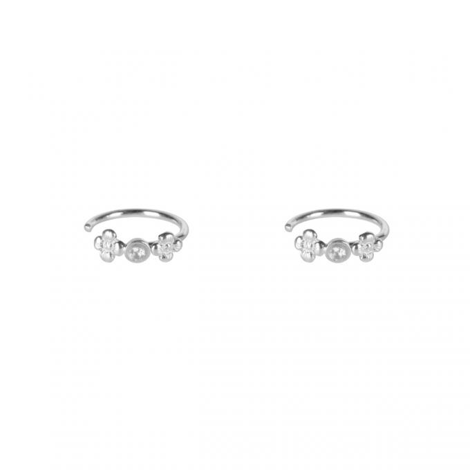 Mini Flowers White Zirconia Earrings Silver