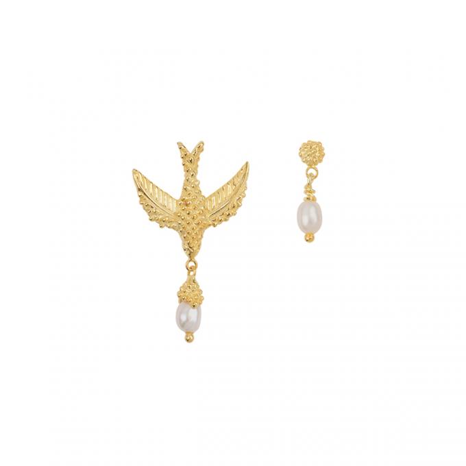 Bird Pearl Earrings Goldplated